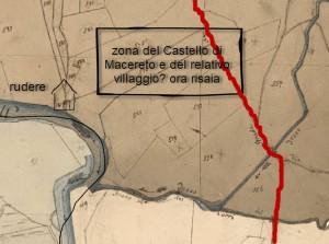 la zona del rudere e quella dove presumibilmente si trovavano borgo e castello