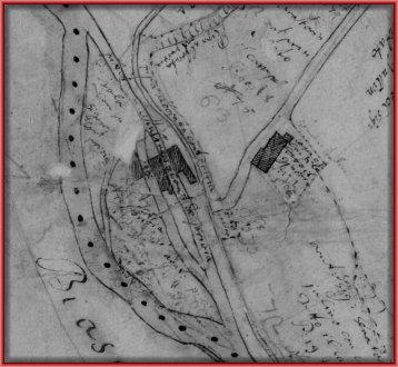 la planimetria del sistema delle acque del Taboga con le due rogge molinare e i tre edifici dei mulini