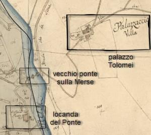 catasto leopoldino locanda del ponte, vecchio ponte, palazzo Tolomei